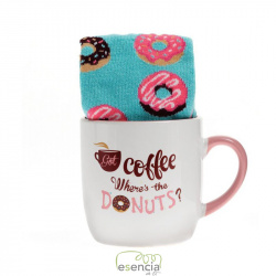 AROMA HOME TAZA + CALCETINES DONUTS